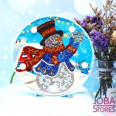 Diamond Painting Lamp Kerst 02 Sneeuwpop