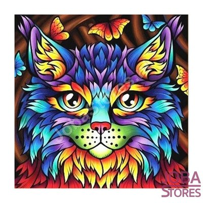 Diamond Painting Colorful Cat 20x20cm