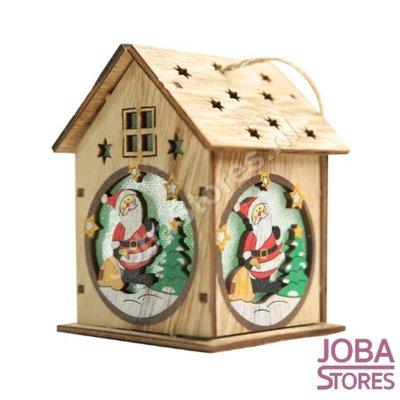 Mini Houten Kerst Huisje met verlichting Kerstman