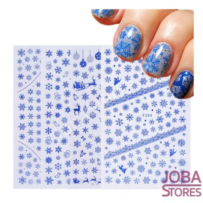Nagel Sticker Set Sneeuw Blauw
