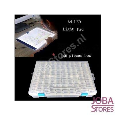 Diamond Painting Sorting box 140 slots TicTac style + A4 Lightpad