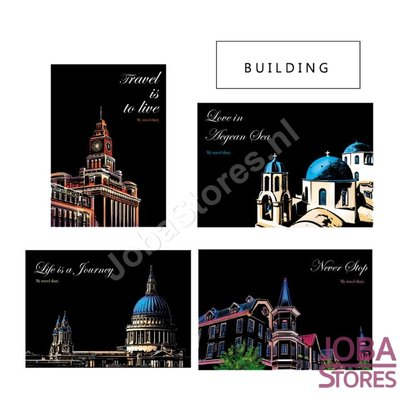 Scratch Drawings Set Buildings 29x21cm (4 pieces)