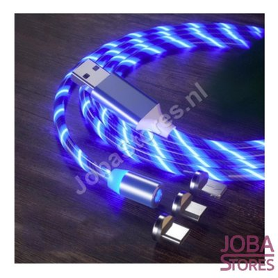 Magnetic USB cable with lighting and 3 plugs (Blue)