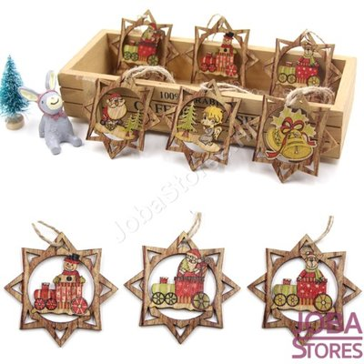 OP=OP Houten Kerst Hangers Ster Assorti (6 stuks)