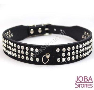 Honden Halsband Bling Zwart S