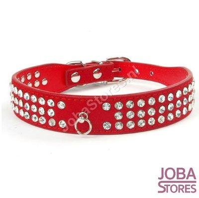 Honden Halsband Bling Rood S