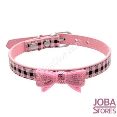 Honden Halsband Ruitjes met strik Roze XS
