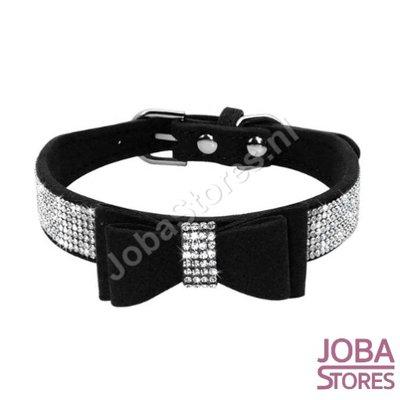 Honden/Katten Halsband Bling met strik Zwart (S)